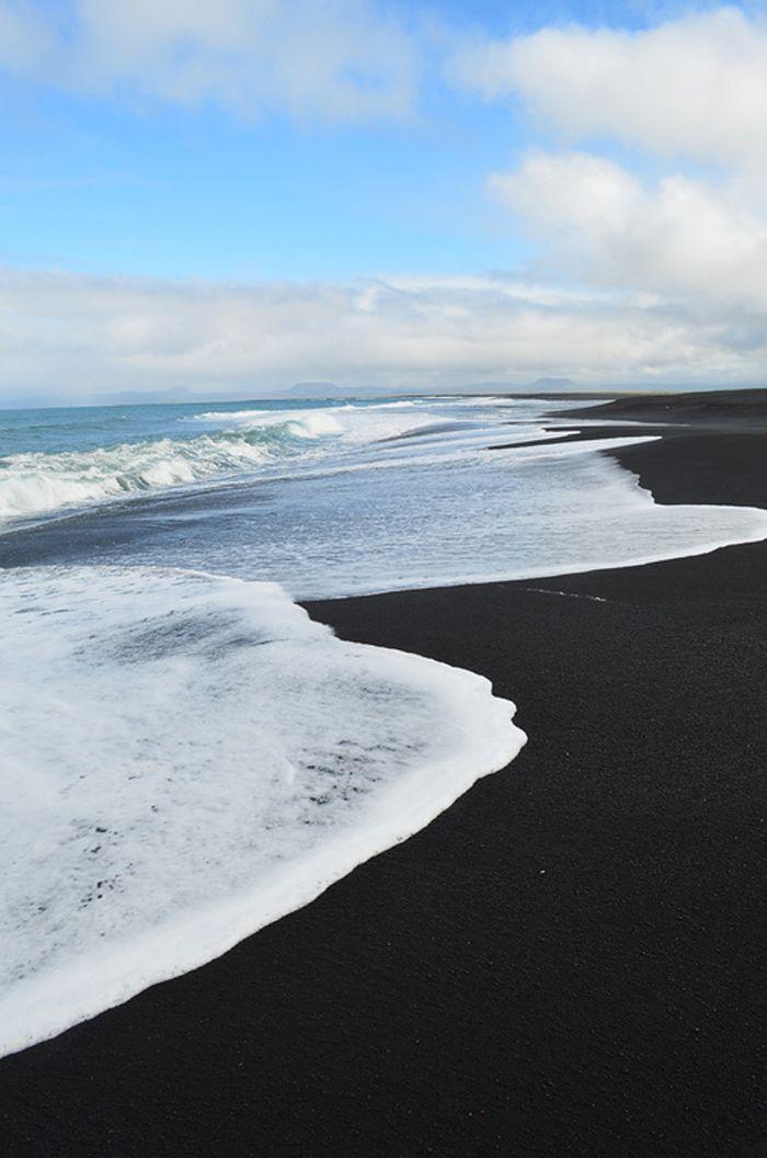 Black sand beach in a Hawaii
