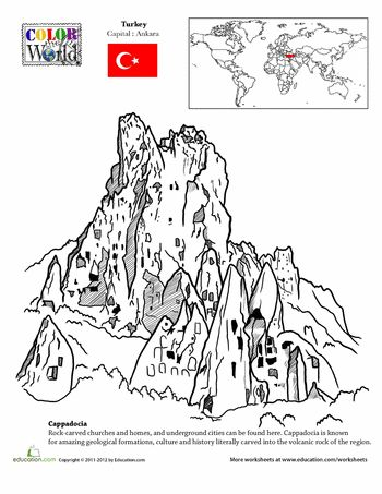 Worksheets: Color the World! Cappadocia