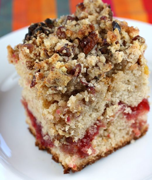 Both fresh and dried cranberries are in this heavenly coffee cake ...
