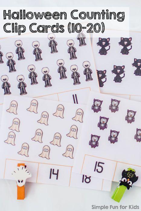 halloween counting clip cards 10 20 halloween worksheetshalloween activitiespreschool - Halloween Worksheets Preschool
