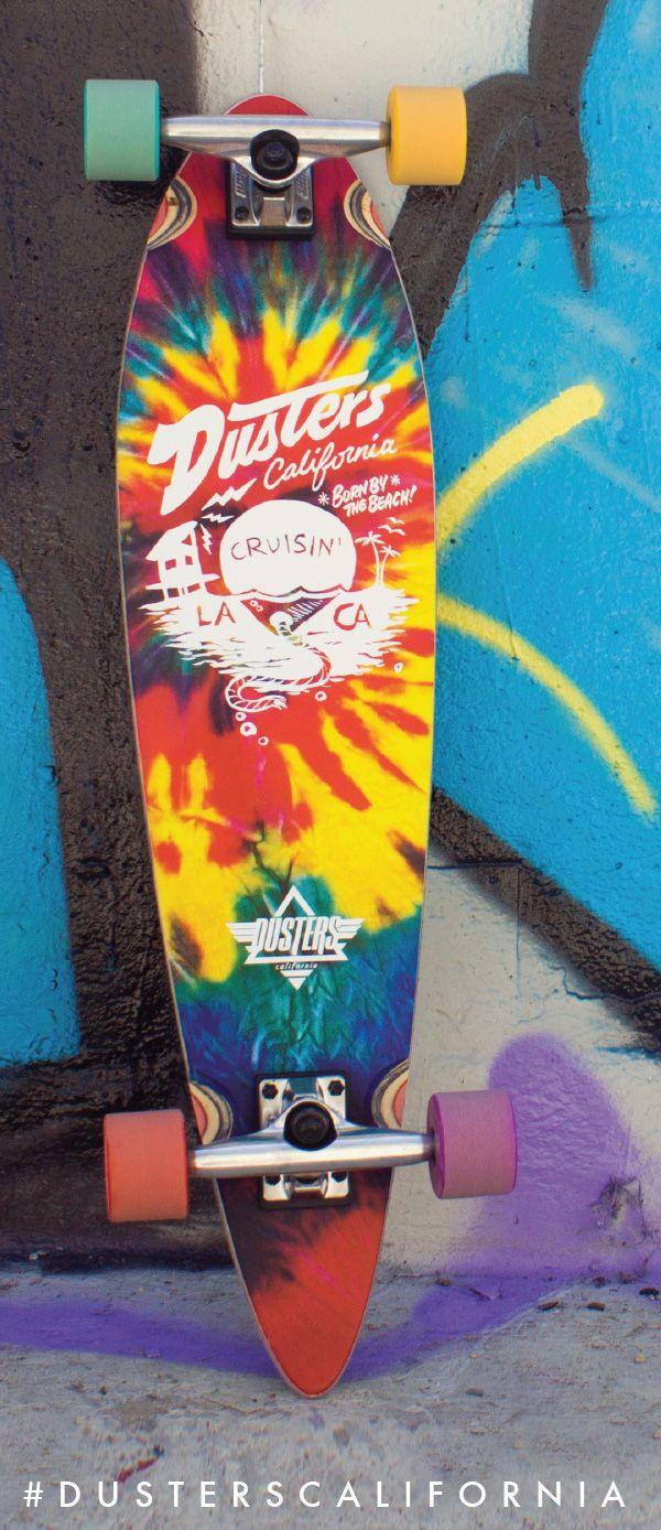 The Dusters California Cruisin' Tie Dye Longboard. Classic California beach vibes.