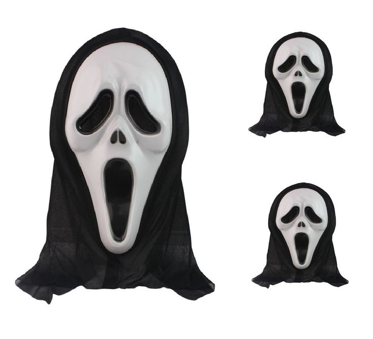 Black Ghost Scream Scary Face Mask Costume Spooky Party Halloween Prop