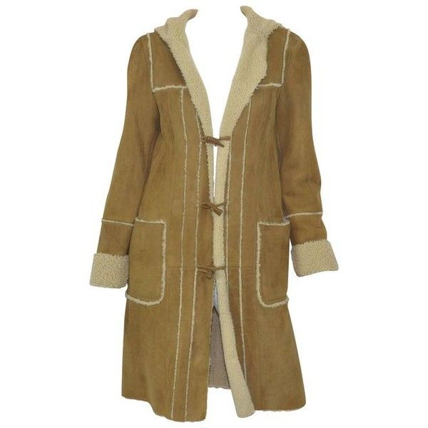 Preowned Chanel 2006a Shearling Coat With Hood ($2,600) ❤ liked on Polyvore featuring outerwear, coats, multiple, shearling coat, chanel coat, brown coat, leather-sleeve coats and hooded toggle coat