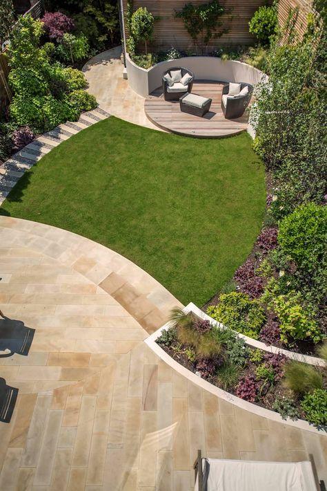 A south-facing contemporary family garden: garden by kate eyre garden design – Bernadette Davies