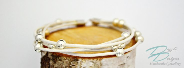 Genuine White Leather Cord Multi Strant Bracelet w/ Silver Accents by DizzleDesigns on Etsy