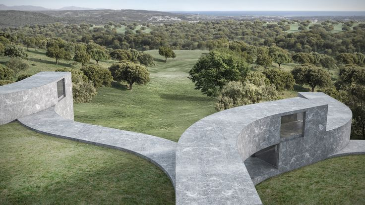 Curving blocks overlap to create the sinuous form of this conceptual house, designed by Fran Silvestre Arquitectos to frame seven tiered gardens in Spain