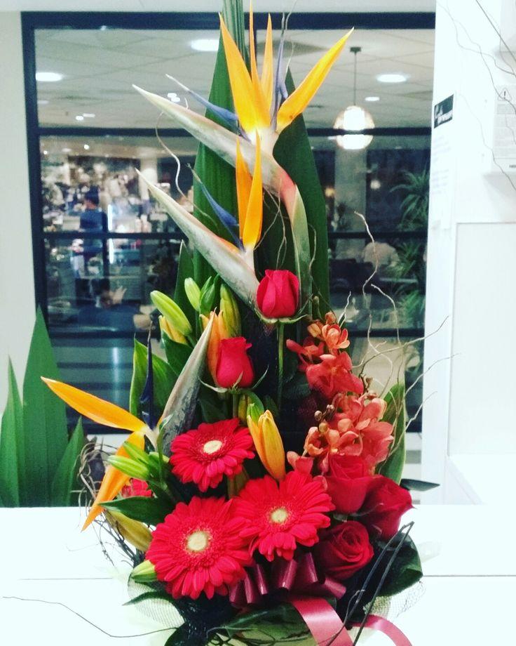 Bright front facing box flower arrangement  www.thepaperroseflorist.com.au