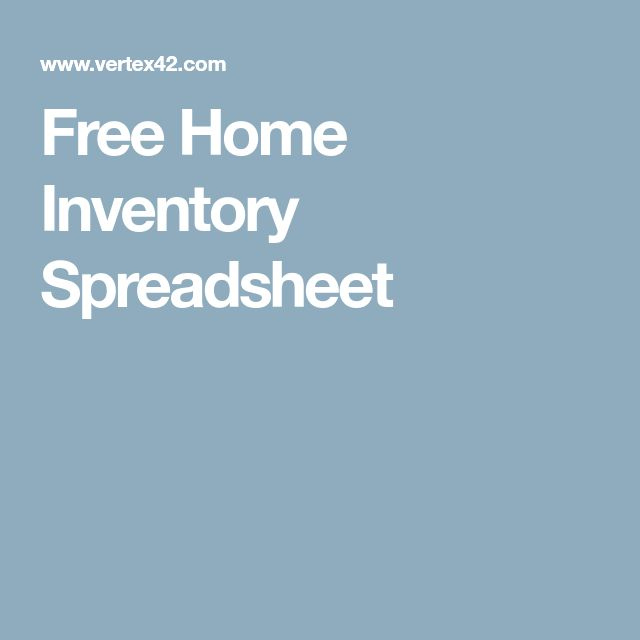 Free Home Inventory Spreadsheet