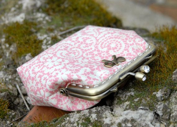 Lovely coin purse made of lace pattern textile and by ByFrenchy