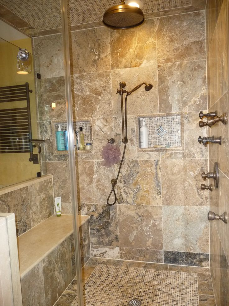 Popular Bathroom Tile Shower Designs With Awesome Stainless Head Shower And Chrome Faucet Or Mixer Taps
