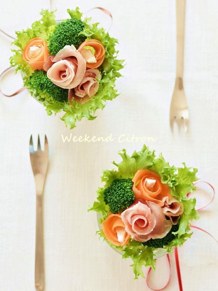 グラスdeブーケサラダ by 北島真澄 / お祝いに♪パーティーに♪花束に見立てたブーケサラダをグラスで作ってみました♡ / Nadia