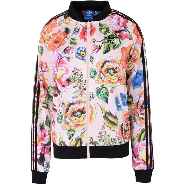 Adidas Originals Jacket (120 CAD) ❤ liked on Polyvore featuring outerwear, jackets, light pink, floral jacket, zip jacket, zip pocket jacket, light pink bomber jacket and logo jackets