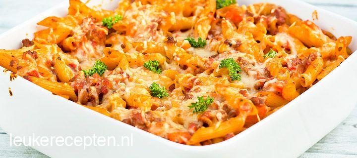 Pasta bolognaise uit de oven - (met rundergehakt in plaats van half om half gehakt)