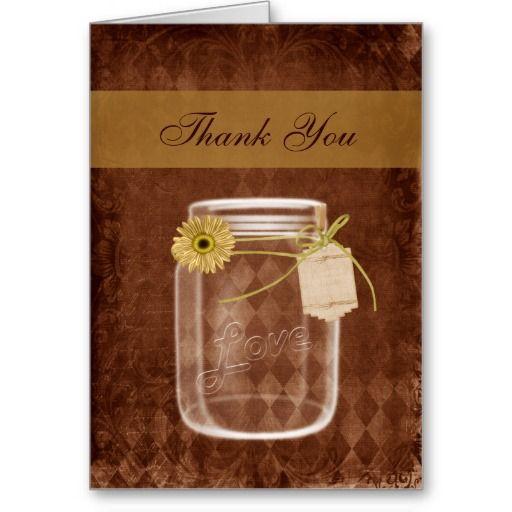 Sunflower Rustic Mason Jar Wedding Thank You Greeting Card
