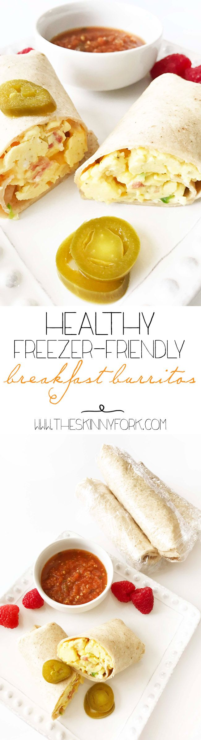 Check out these NEW New new Healthy Freezer-Friendly Breakfast Burritos! Sunday is a perfect day for meal prep and these freezer breakfast burritos are a great option for breakfast!  Just re-heat and eat during the bust week days. TheSkinnyFork.com | Skinny & Healthy Recipes