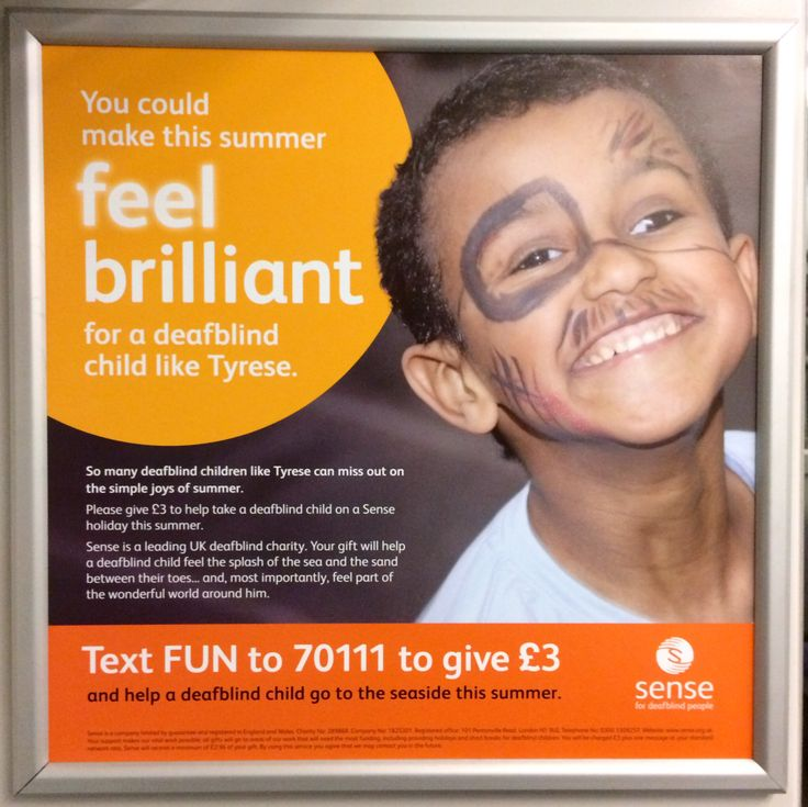 Here's an engaging ad with an uplifting feel from Sense. It is calling for donations by text to support the work they do with deafblind children. Good luck with the campaign, Sense! #charity #advert #sense