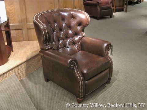Leather Recliner With Nailheads And Tufted Back Available