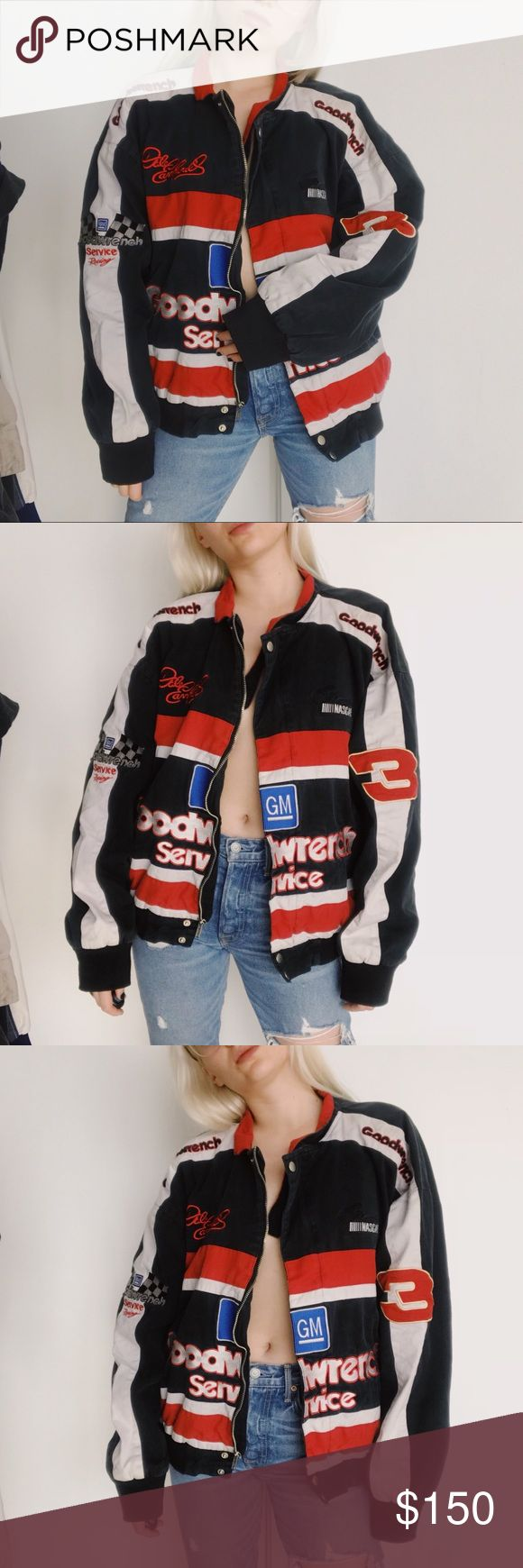 🖤 BLACK FRIDAY 50% OFF 🖤goodwrench nascar jacket IM OBSESSED WITH THISSSSS ❣️❣️❣️ the coolest jacket possibly ever. covered in amazon patches and embroidered details! pair with your favorite denim, or black leather pants 🖤  * size faded off tag... fits like a Large  * poly / satin lining    ❣ ABSOLUTELY NO PP OR TRADES ❣ ⭐️ model is 5'3 and typically a XS ⭐️ Nasty Gal Jackets & Coats Utility Jackets
