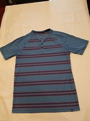 d661bd72538e #Hurley #Nike #DriFit M medium men shirt blue stripe casual #henley short  sleeve