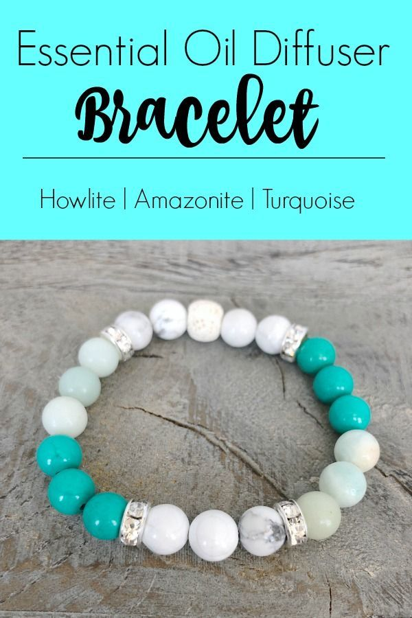 Howlite, Amazonite, and Turquoise Essential Oil Diffuser Bracelet. A beautiful way to enjoy your essential oils all day! #aromatherapy #diffuserbracelet #turquoisebracelet #howlite #amazonite #lavabeadbracelet