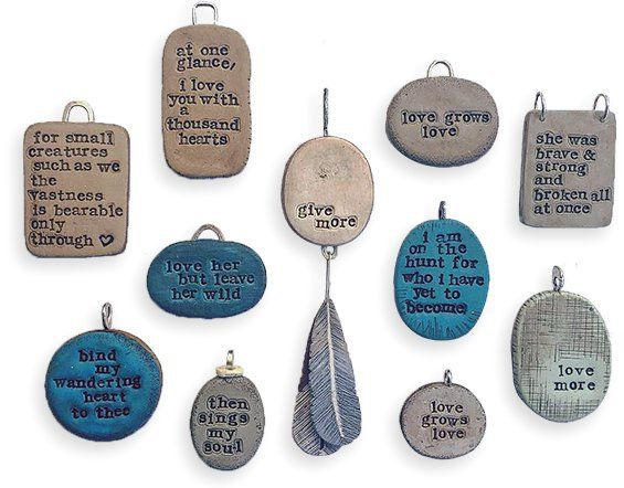Heather Millican's stamped charms on PolymerClayDaily.com Who better to get us in a thankful mood for Thursday's Thanksgiving than Florida's Heather Millican (Swoondimples)? These charms and tokens remind their owners to pay attention and breathe deeply. Need more inspiration? Try Heather's work on Instagram, Facebook, and Etsy.