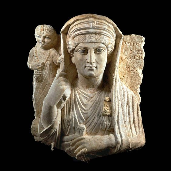 Palmyra limestone polychrome relief bust of a noblewoman and child, 2nd-3rd century A.D.  57 cm x 47 cm. Private collection