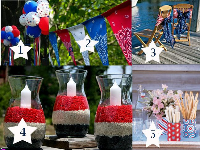 Patriotic party decorations with Crinkle Sheer Chair Bows: July Fun, July Party, 4Th Party, 4Th Of July, July 4Th, July Ideas, July Decor, Party Ideas