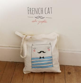 Tote-bag French cat