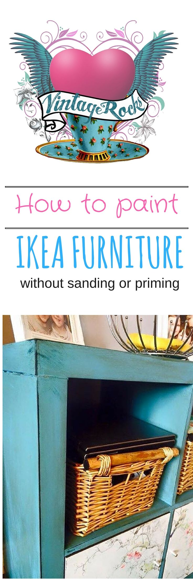 How to paint Ikea furniture with Vintage Rocks chalky paint.  So easy ... no need to sand or prime!