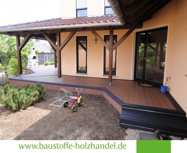 Fancy UPM ProFi Design Deck in Herbstbraun Verlegung erfolgte mit Alurailschiene Treppenprofil in Steingrau