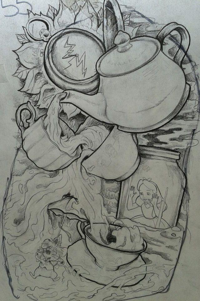 Alice in wonderland tattoo drawing