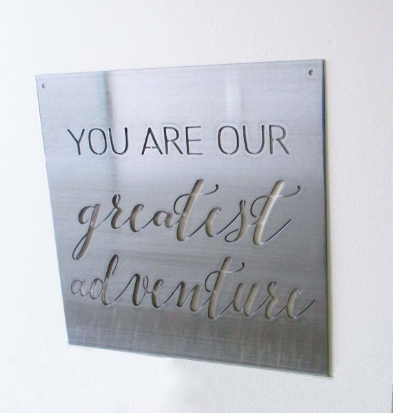 This metal sign can be customized to include your favorite inspirational quote, a personalized wedding gift, or anything you desire. It