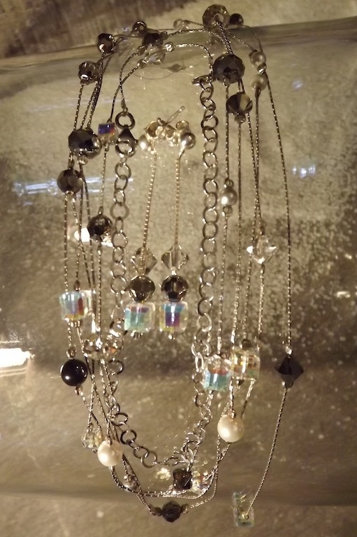 "Sets : Set ""Cobra""silver and Swarovski crystals"