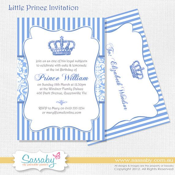 Little Prince Birthday Party Invitation - Boys Birthday Party - DIY PRINTABLE FILE by Sassaby