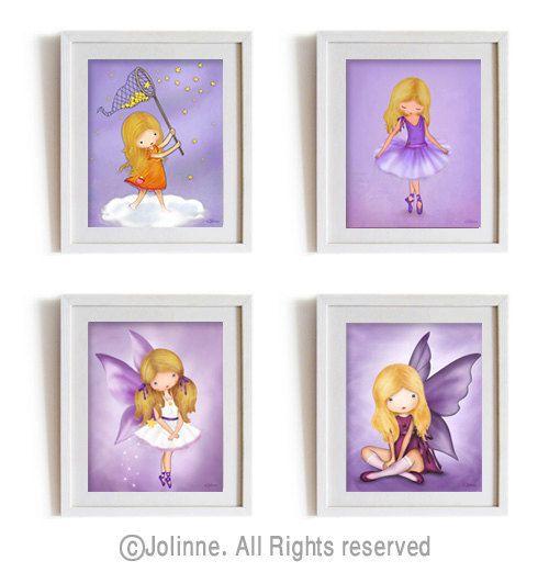 Girls room artgirls purple room decorkids wall by jolinne on Etsy