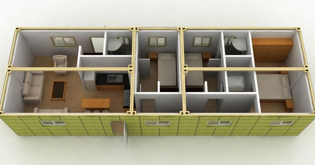 Floor plan for a single container floor plan for Smart haus container