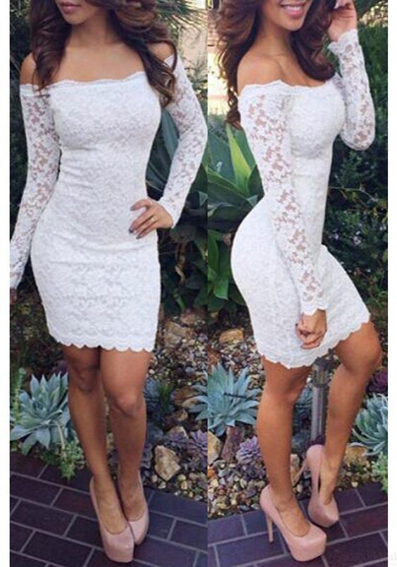>> Click to Buy << Hot Sale White Lace Long Sleeves Tight Homecoming Dress 2017 Boat Neck Prom Dresses For Girl Vestia De Festal Custom Made #Affiliate