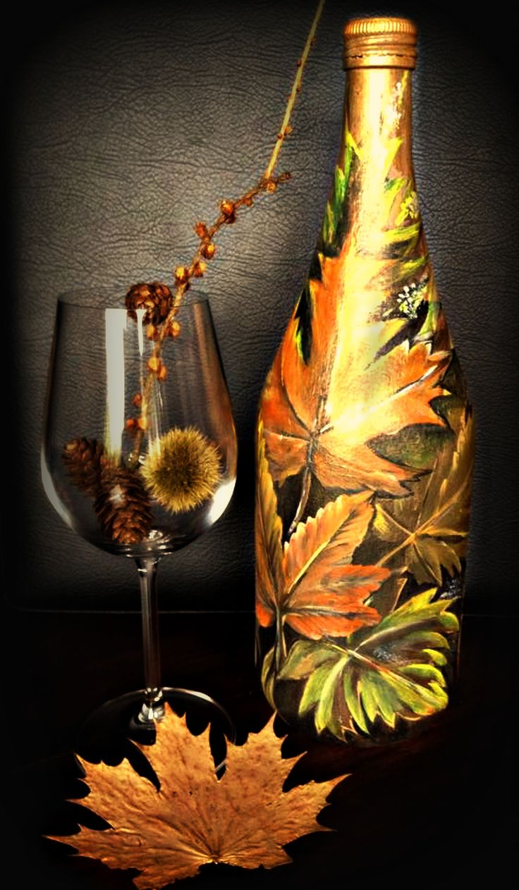 herbst deko deko bottels handarbeit acryl auf glas deko bottles hand painted gifts my. Black Bedroom Furniture Sets. Home Design Ideas