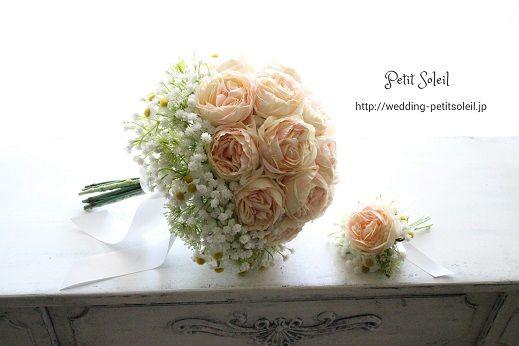 コロンとしたバラとかすみ草のブーケ
