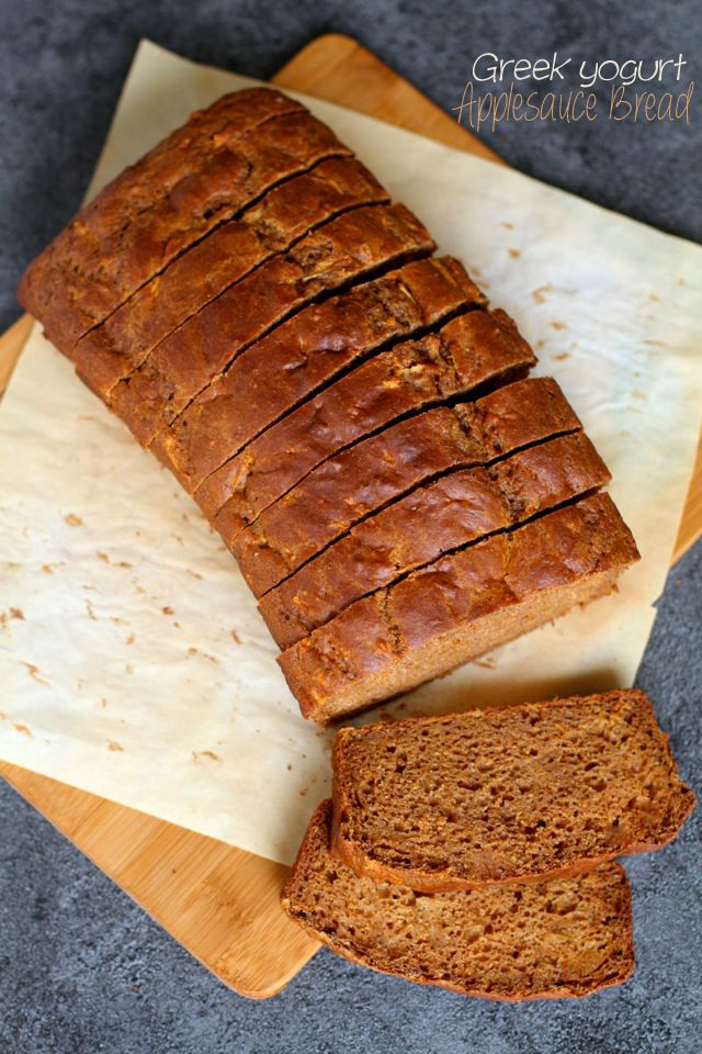 Spiced Greek Yogurt Applesauce Bread -- apples and warming spices compliment each other perfectly in this ridiculously soft and fluffy quick...