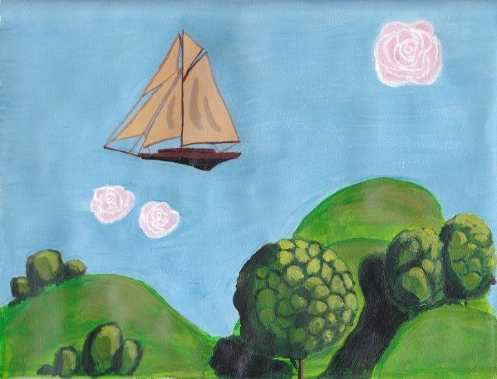 """Flight of Fantasy"" Acrylic. Inspired by ""The Imaginarium of Dr Parnassus."""
