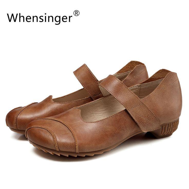 Whensinger - 2017 Spring New Arrival Women Shoes Genuine Leather Hook &  Loop Design 3621