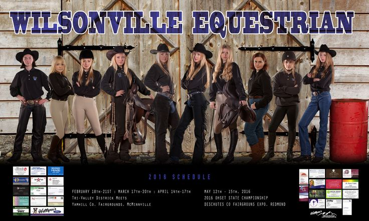 Wilsonville High School Equestrian Team poster composited by John Naccarato. © Naccarato Photography, Wilsonville Oregon.