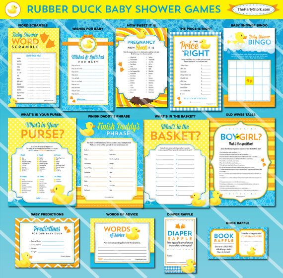 Rubber Duck Baby Shower Games | Girl Boy Baby Shower Printable Orange Yellow Blue | ONE GAME You Choose | Invitation & Decorations Available