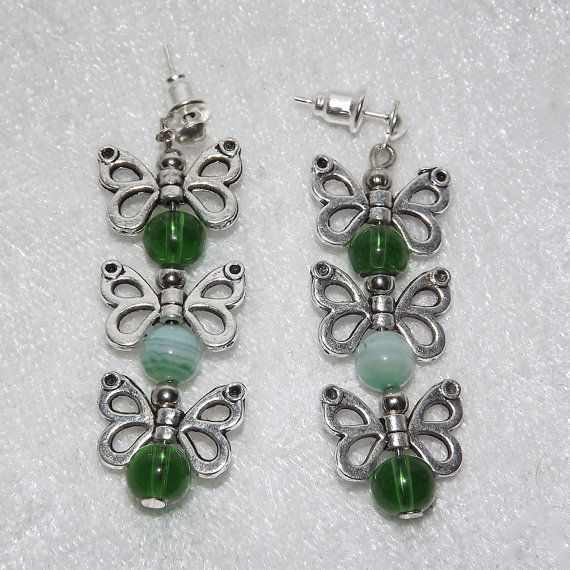 Earrings   Butterfly Trail Glass & Gemstone  Green by KasumiCrafts