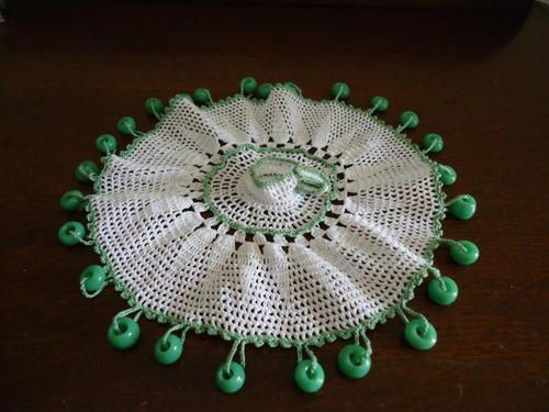 Vintage White Crochet Milk Jug Cover-Figural Cup and Saucer-Glass Beads (ebay)