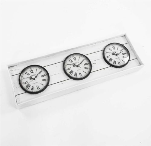 Shabby Chic Driftwood World Time Zone 3 Dial Wall Clock Paris London New York Displays 3 different time zones Wall Hanging The clocks