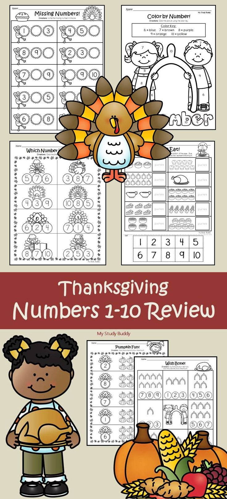 Thanksgiving Numbers 1-10 (Kindergarten)