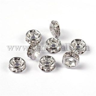 Brass Rhinestone Spacer Beads RB-A014-Z6mm-01S-NF