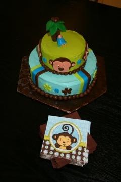 monkey baby shower cake - blue, green, brown